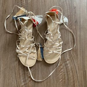 Strappy tassel flat sandals size 6 forever 21